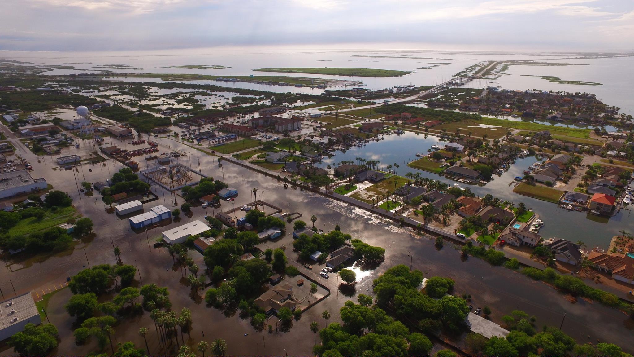 Photographs show Texas harbor city Aransas Pass flooded