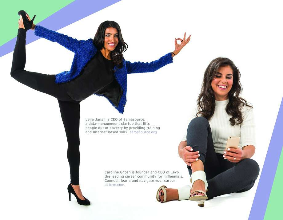 The Betabrand Pantsuit Calendar, new for 2016, features 32 female tech entrepreneurs wearing the brand's Dress Pant Yoga Pant and is part of an effort to raise money for Techstar Foundation, which works to improve diversity in the tech world. $20 at www.betabrand.com. Pictured here are Leila Janah, CEO of Samasource, and Caroline Ghon, CEO of Levo. Photo: Betabrand