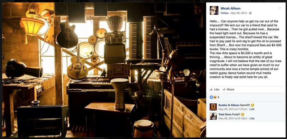 A May post on Allison's Facebook page presumably describes the vision for the Ghost Ship. Photo: Screen Shoot, Facebook