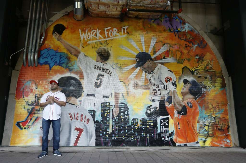 The unveiling of the Astros Street Art display in Home Run Alley, features the graffiti artwork of local artist Franky Cardona during the tour of the new center field at Minute Maid Park,  Wednesday, March 29, 2017, in Houston. ( Karen Warren / Houston Chronicle ) Photo: Karen Warren/Houston Chronicle