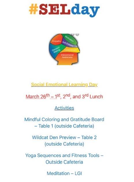 Social Emotional Learning (SEL) Day – March 26th – High School