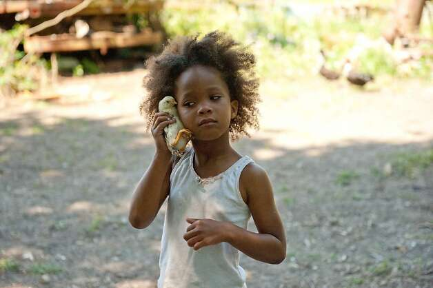"""Quvenzhane Wallis as """"Hushpuppy"""" on the set of BEASTS OF THE SOUTHERN WILD. Photo: Jess Pinkham, Fox Searchlight / SF"""