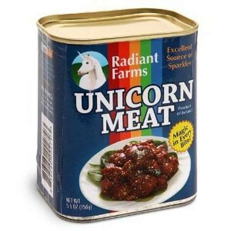 "UNICORN MEAT: How convenient that you can buy this in a can! The description tells us it's an ""excellent source of sparkles.""(View on Amazon.) / SL"