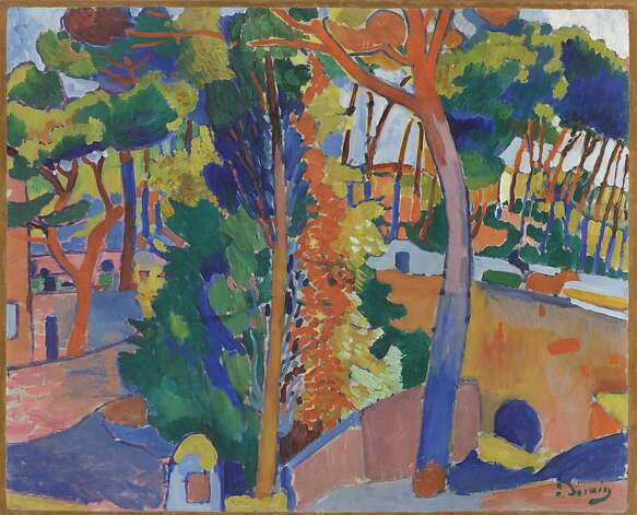"""""""Bridge Over the Riou"""" (1906), oil on canvas by Andre Derain from the William S. Paley collection at the de Young. Photo: Unknown / SF"""