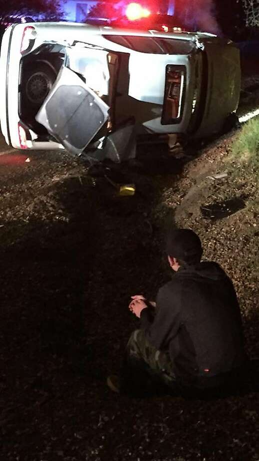 A car spun off the road into a ditch in Healdsburg early Friday morning. Photo: Sonoma County Sheriff's Office