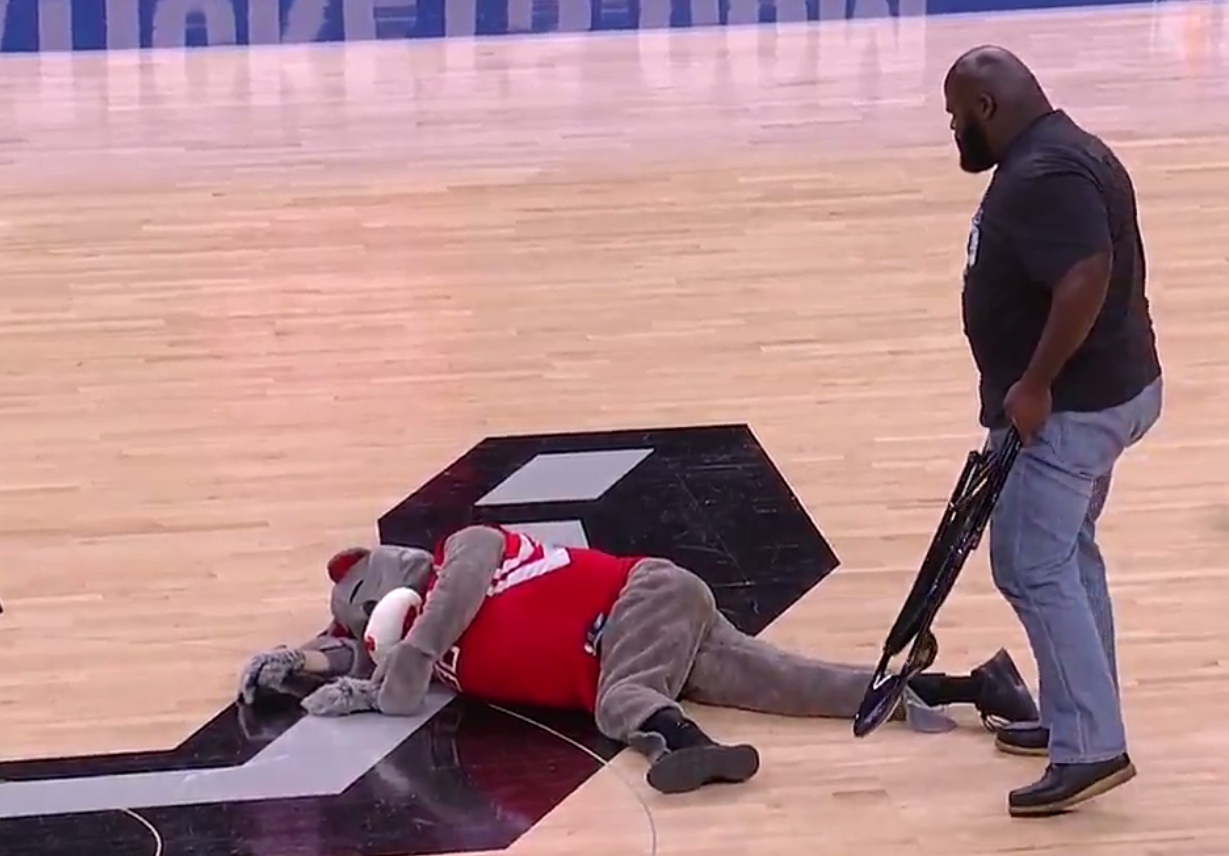steel chair used in wwe fisher price pink mark henry blasts fake rockets mascot with