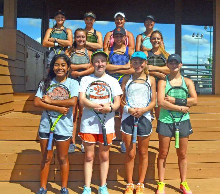 Varsity players for the Edwardsville girls' tennis team are, front row from left, Chloe Trimpe, Maren Heidt, Grace Hackett and Abby Cimarolli. In the middle row from left are Alyssa Wilson, Hayley Earnhart and Many Schreiber. In the back row from left are Grace Dessem Annie McGinnis, Natalie Karibian and Tymei Dappert.