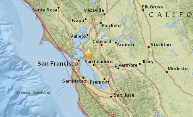 A magnitude 4.4 earthquake struck in Berkeley at 2:39 am. Photo: USGS