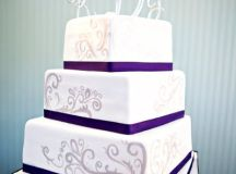 Purple Silver White Square Wedding Cakes Photos & Pictures ...