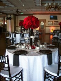 Black Red White Centerpiece Centerpieces Chairs Place ...