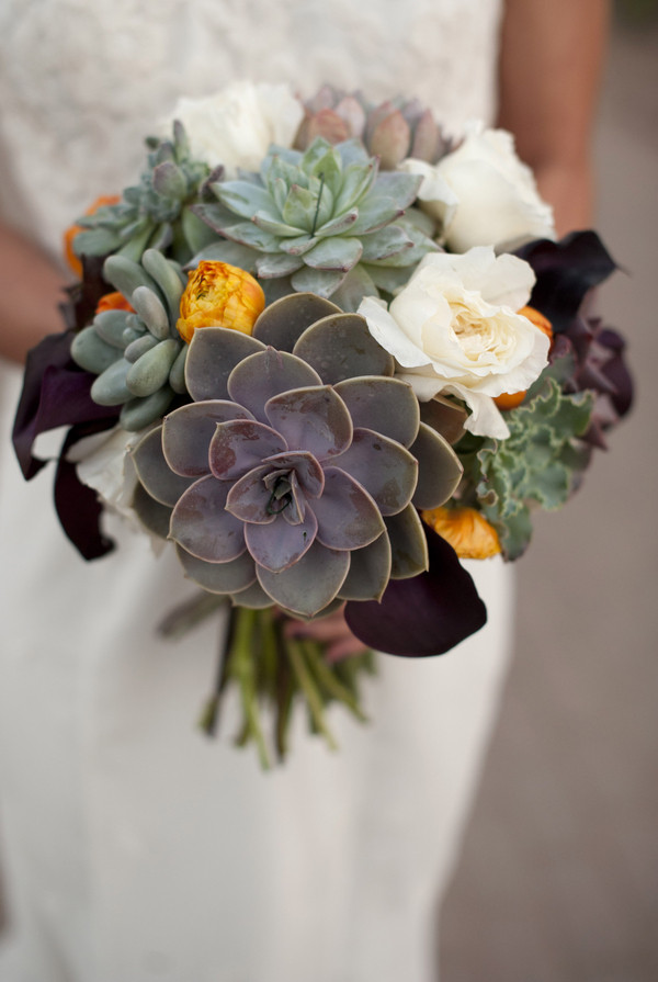 Modern Succulents Wedding Flowers Photos by Laura Segall Photography  Image 1 of 41  WeddingWire