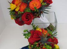 Blue Green Orange Red Yellow Bouquet Fall Wedding Flowers ...