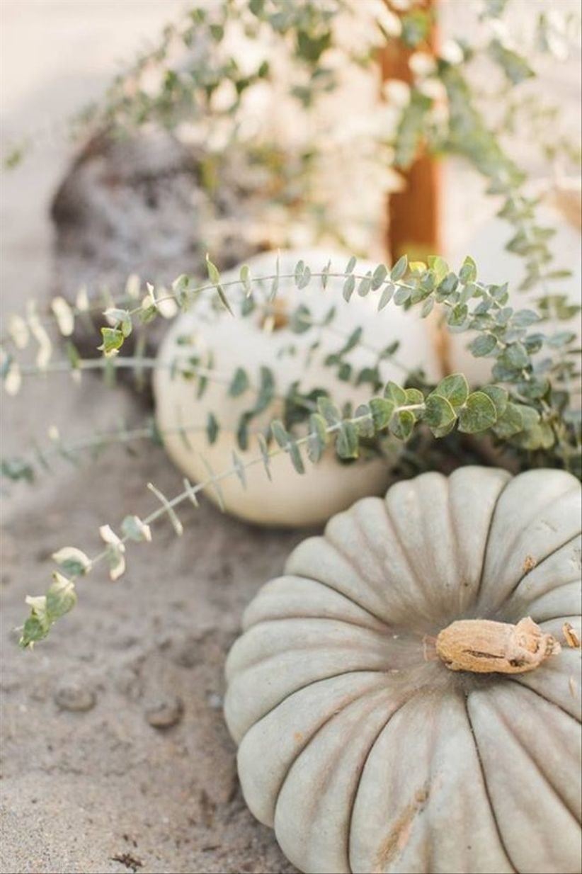 gray and white gourds fall wedding decor