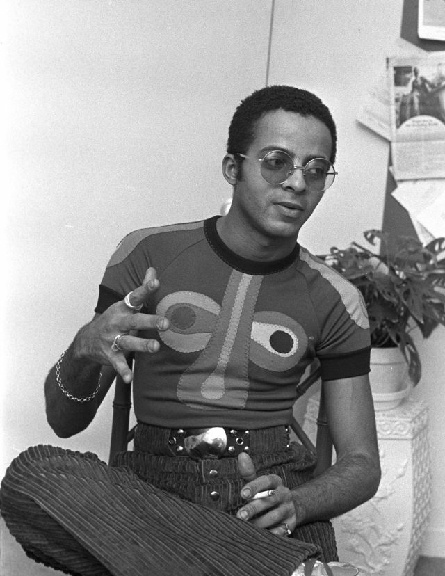 Fashion designer Stephen Burrows wearing a colorful t-shirt while showing his Spring/Summer 1971 collection in New York