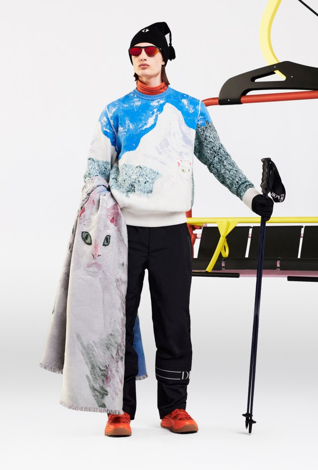 A look from Dior's men's ski capsule line designed with Peter Doig.