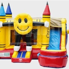 Folding Chair Emoji Computer Back Smiling Bounce House With Water Slide And Pool - The Fun Train Party Rentals
