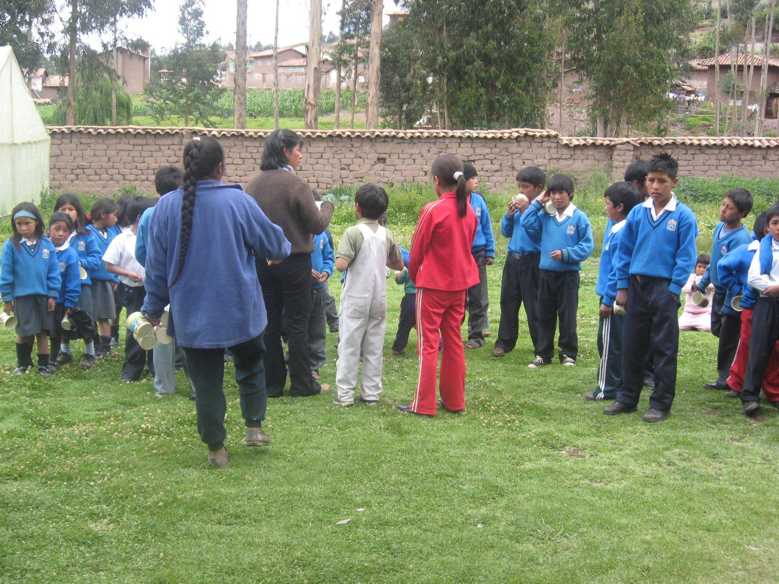 Kids in rural Peru whose native language is Quechua learn Spanish in school.