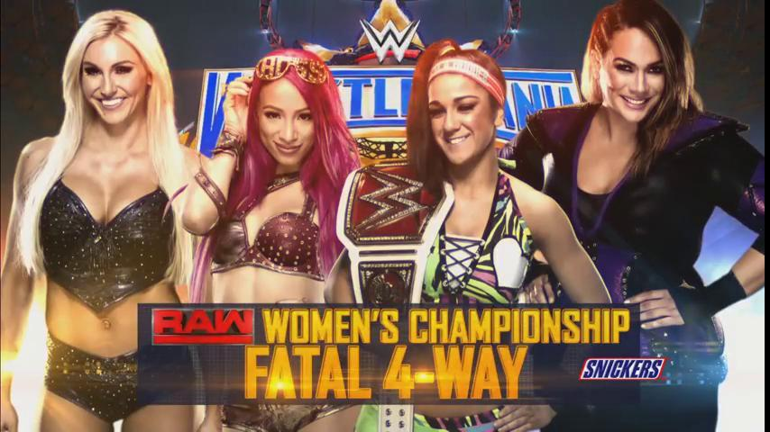 Image result for wrestlemania 33 Bayley (c) vs. Sasha Banks vs. Charlotte Flair vs. Nia Jax