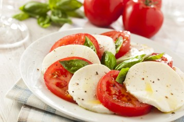 Homemade Organic Caprese Salad with Tomato and Mozzarella