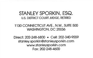 Sporkin, Stanley - Business Card