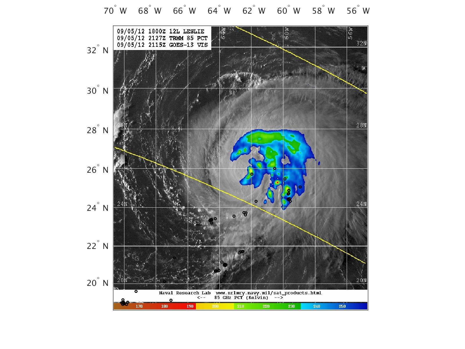 hight resolution of tmi 85 ghz pct satellite overlay