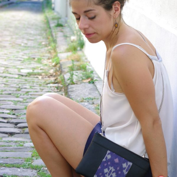 Idea of look with the pouch bag, 100% vegan in Black and Flowery Blue, made in France for the empowerment of women.