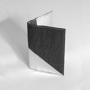 Delia Passport cover in Piñatex Cork Black and Silver