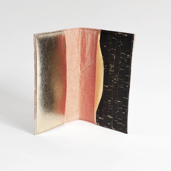 Interior view of the Delia Paprika and Gold Passport Cover made in France with Piñatex®