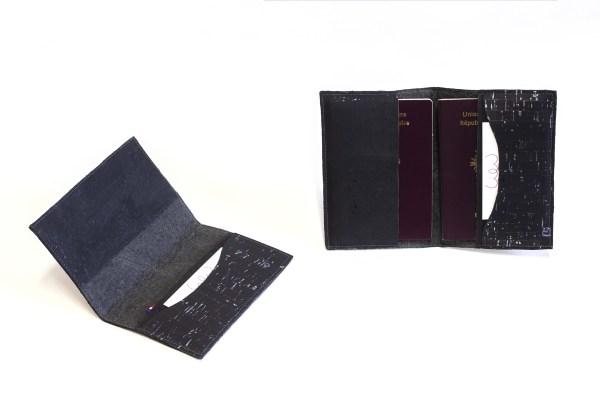 Passport cover Piñatex Cork Black Black Amazon view inside compartment