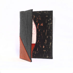 Delia Passport cover Piñatex Black Paprika open view