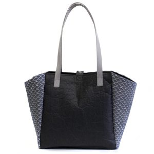 Japanese Black Piñatex and Upcycled Fabric Tote Bag