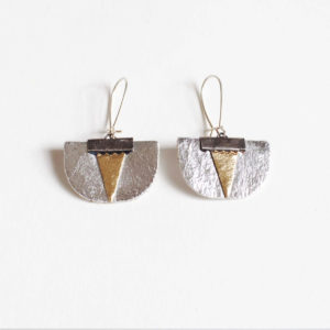 Daisy Piñatex Earrings Silver Gold