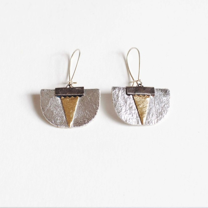 Daisy Piñatex® Earrings Silver and Gold