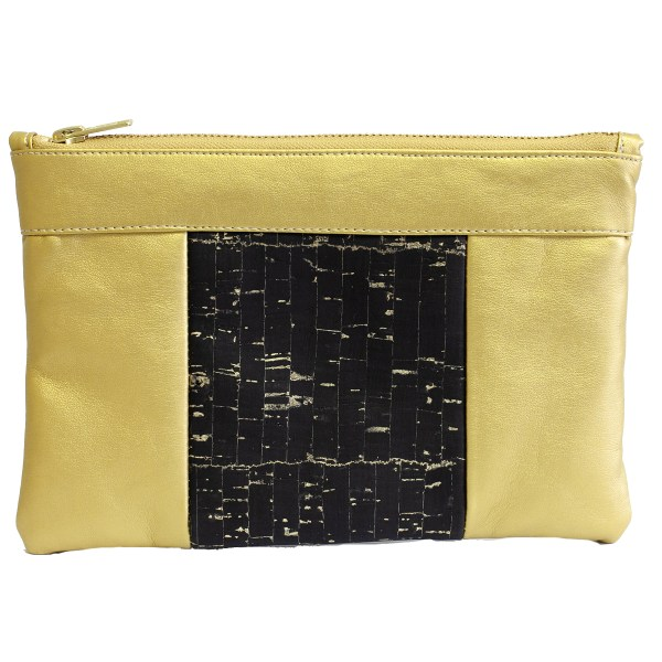 The bag that also makes a pouch, 100% vegan in Gold and Cork, made in France for the empowerment of women.