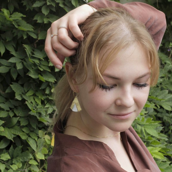 Ethnic Piñatex® Earrings Gold and Silver worn by Elizaveta