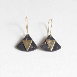 Boucles d'oreilles Piñatex Triangles Liège et Doré