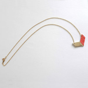 Victory Necklace in Piñatex Gold and Paprika