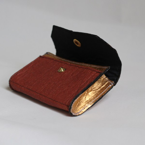 Front view of the Phulan Wallet Cinnamon Brown and Gold made in France without leather
