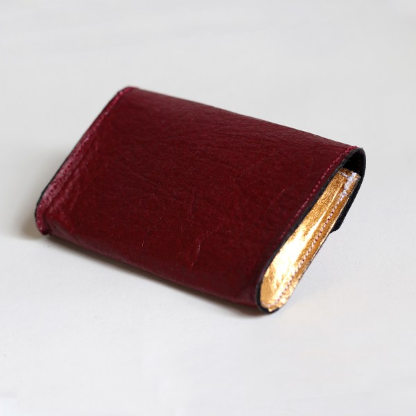 Back of the Phulan Mulberry and Gold Wallet made in France