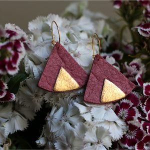 ethnic piñatex earrings pink gold for all the committed women