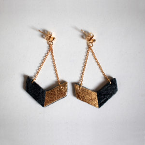 Victory Piñatex Earrings Black & Gold
