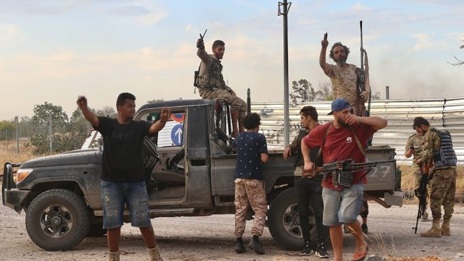 TRIPOLI, LIBYA - JUNE 03: Members of Libyan army celebrate after recapturing Tripoli airport from warlord Khalifa Haftar's militias in Tripoli, Libya on June 03, 2020. ( Hazem Turkia - Anadolu Agency