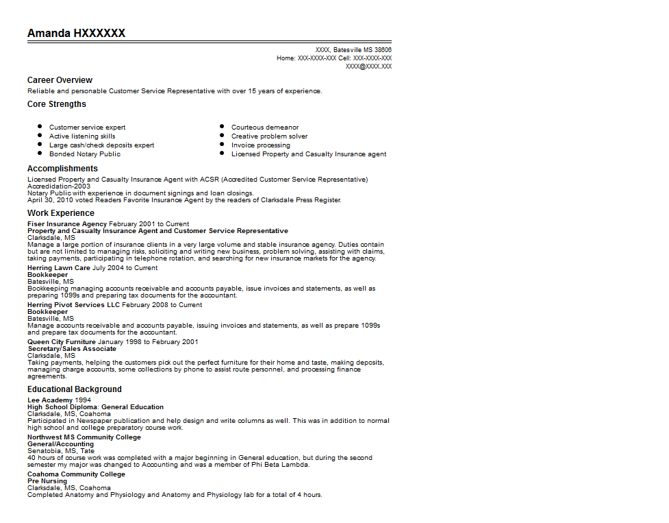 Property And Casualty Insurance Agent Resume Sample