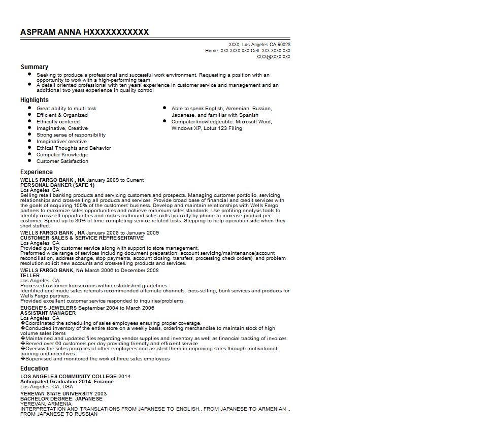 Wells Fargo Personal Banker Resume Sample Quintessential LiveCareer  Personal Banker Resume Objective