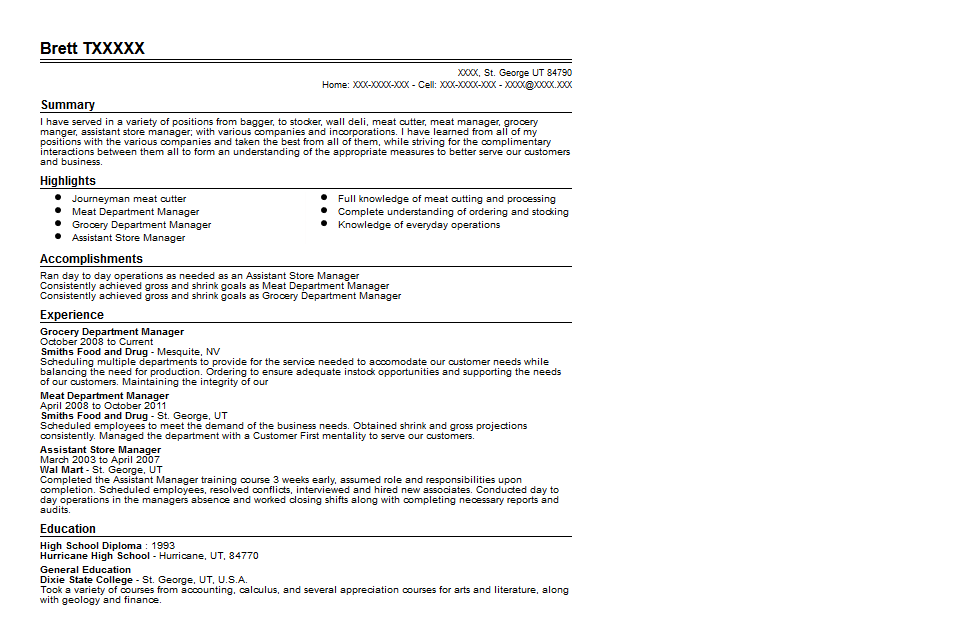 Grocery Department Manager Resume Sample Quintessential LiveCareer