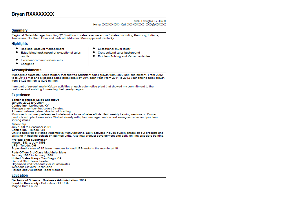 Regional Sales Manager Resume Sample Quintessential LiveCareer
