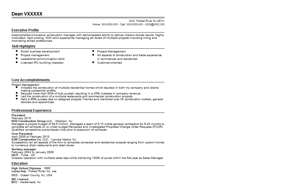 construction resume example examples of resumes