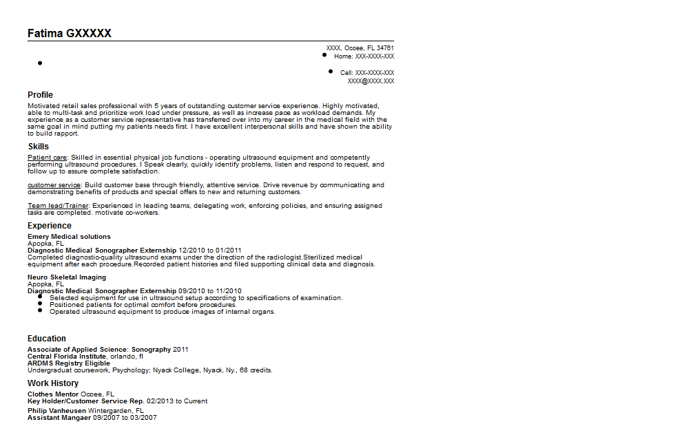 Ultrasound Student Resume Example Resume Ixiplay Free Resume Samples