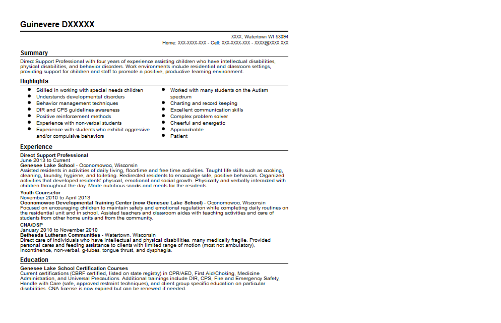 Direct Support Professional Resume Sample Quintessential LiveCareer