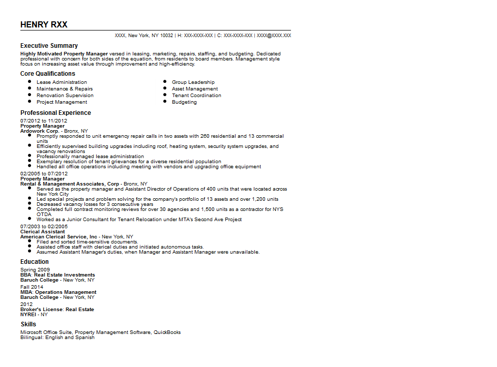 Experienced Property Manager Resume Sample Quintessential LiveCareer